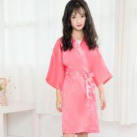 Kinder-Mädchen-Sommer-Roben-Kind-Mädchen feste Seide Satin Kimonorobe Mädchen Bademantel Nachtwäsche Pyjamas Nachtgewand LJJA3828