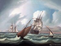 34 1879- James E. Buttersworth Sailing ships boats Hand- pain...