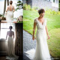Jenny Packham 2019 Ivory Lace Vintage Sheath Bröllopsklänningar Golvlängd V Neck Kortärmad Brud av klänningar