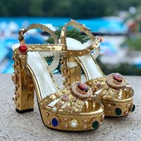 Summer New Product Square Heel Women Sandals Crystal Decorat...
