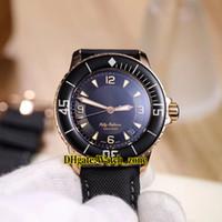 2 لون جديد 5015-3630-52 Fifty Fathoms 50 Fathoms Black Dial Miyota 8215 Automatic Mens Watch Rose Gold Case