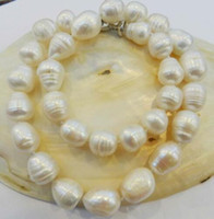 "REAL NATURAL 12- 13MM WHITE freshwater PEARL NECKLACE 18""..."