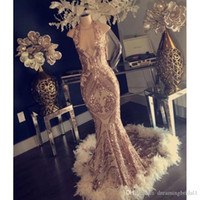 Feather Sequined Mermaid Prom Dresses 2019 New Sleeveless Ha...