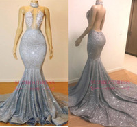 2019 Sexy Sheer Halter Sequins Mermaid Long Prom Dresses Tul...