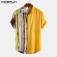 남성용 캐주얼 셔츠 여름 남성 셔츠 코튼 스트라이프 패치 워크 옷깃 2021 버튼 반소매 Camisa Streetwear Mens 하와이 인 7