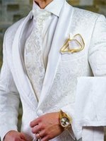 사용자 정의 만든 흰색 패턴 groomsmen 숄 옷깃 신랑 턱시도 남자 정장 결혼식 최고의 남자 블레이저 2 조각 (자켓 + 바지 + 나비 넥타이) L611