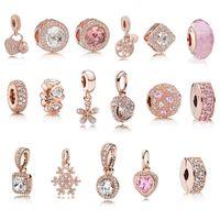 S925 Sterling silber schmuck Diy Perlen Für pandora Ale Charme Für Pandora Armbänder für frauen Für Europäische rose gold BraceletNecklace