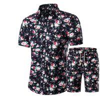 عارضة أزياء الرجال قميص + السراويل مجموعة صيف جديد مطبوعة قميص هاواي أوم قصيرة ذكر الطباعة اللباس مجموعات البدلة زائد الحجم