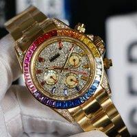 Nuevo 18K caja de oro amarillo 116595 RBOW Gypsophila Dial automático del reloj para hombre del arco iris del diamante del bisel (n cronógrafo) Relojes Hello_Watch