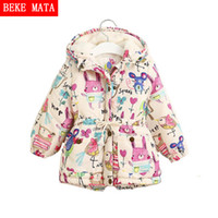 2018 New Winter Jackets For Girls Graffiti Hooder Zipper Par...