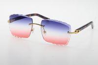 الجملة بيع نظارات شمسية بدون شفة البصرية 3524012-a الأصلي الرخام الأرجواني لوح جودة عالية c الديكور منحوتة العدسات الزجاج للجنسين الذهب معدن الإطار النظارات