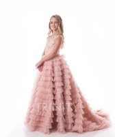 Jolies couches roses Dentelle Perles de dentelle Fille Robes Fleur Girl Robes Vacances / Jupe d'anniversaire Jupe Princesse Taille personnalisée Taille personnalisée 2-14 F106127