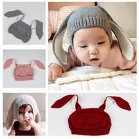 الطفل الأرنب الآذان غطاء محبوك قبعة الرضع الأرنب قبعات الحيوان الأطفال آذان شكل قبعة من الصوف المنسوجة كأب التصوير الدعائم الرضع قبعة صغيرة دافئة