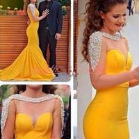 Elegante Illusion Mermaid afrikanische Abendkleider wulstige lange Hülsen-reizvolle Festzug Dubai formale Partei-Plus Size Prom Pageant Kleider Promi