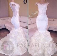 Elegant White Cap Sleeves 2020 Mermaid Prom Dresses Scoop Neckline Appliques Beaded Ruched Ruffles Tulle Long Party Gowns 2017 Evening Dress