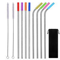 stainless steel straws brush cleaning set Reusable Drinking ...