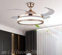 Bluetooth Audio Musique Plafond Ventilateur de plafond 42 pouces Ventilateurs de plafond Éclairage Retirez la commande Invisible Ventilateur Invisible Maison LED Lampes Éclairage Ventilateurs de plafond Myy