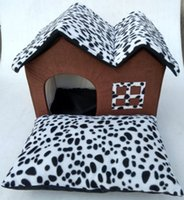 Double Top Pet Kennel Warm Spotted Leopard Print Dog And Cat...
