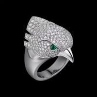 Горячие продажи деньги животные орел головы кольцо нейтральная личность мерцание превосходные качества роскошные птицы кольца глаза инкрустированы зеленым кристаллическим панком