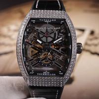 Nueva colección para hombre Vanguard V 45 S6 SQT NR BR Hollow Skeleton Black Dial Automático Reloj para hombre Caja de diamante Relojes de cuero / correa de caucho