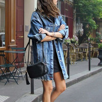النساء الخريف الشتاء سترة بدوره أسفل الياقة طويلة الأكمام زر أبلى جيب عارضة الدنيم معطف طويل