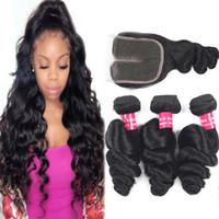 9A бразильская свободная волна Девственные волосы наращивания волос оптом 3/4 со с кружевной крышкой 4x4 вьющиеся глубокие волны человеческие пакеты волос с закрытием