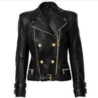 En Kaliteli Premium Yeni Stil Orijinal Tasarım kadın Deri Ceket Metal Tokaları Kruvaze Çift Fermuarlar Siyah Motosiklet Ceket