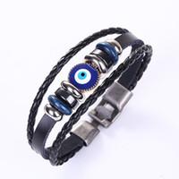 Голубые злые глаза браслеты плетеные бусины браслет женщины натуральные кожаные браслеты для мужчин многослойные обертки браслеты женские моды винтажные украшения