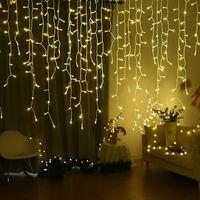 6M X 1 M 256 LED 화환 크리스마스 커튼 조명 고드름 요정 조명 휴일 웨딩 크리스마스 파티 반짝 반짝 조명 장식