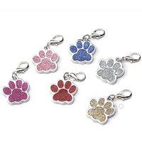 귀여운 강아지 발 모양의 애완 동물 태그 이름 브랜드 열쇠 고리 ID 카드 키 체인 금속 강아지 고양이 목에 펜던트 키 홀더 도매 6 색 BH2854 DBC