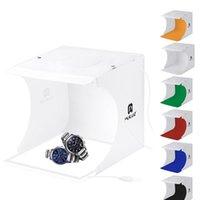 PULUZ portátil Mini Led estudio de la foto caja de sobremesa de disparo suave cuadro Carpa de luz y 2 * Los paneles LED + 6 * Backdrops