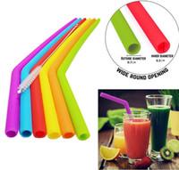 Canudos reutilizáveis do alimento comestível 30oz 20oz do silicone das palhas do silicone que bebem com as palhas do partido da escova de limpeza que bebem ferramentas