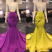 Vestidos de noche amarillos Vestido de fiesta sin espalda sexy con cuello alto Tallas grandes Vestidos de fiesta formales de celebridades vestidos de novia