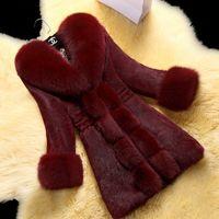 Invierno Nuevo imitación piel delgada piel de piel femenina larga capa gruesa visón más tamaño 3xl mujer chaqueta dama ropa exterior