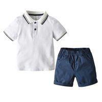 Baby Boys Летние Наборы Дети Белый Коротким Рукавом Поло Футболка + ВМС Шорты 2 шт. Детская повседневная одежда A2332