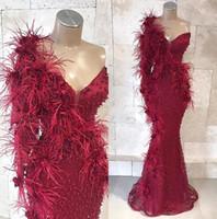 Pena Um ombro Borgonha sereia Vestidos 2019 Appliqued Floral Lace Beads 3D Prom Vestidos Festa Black Girls Vestido BC1809