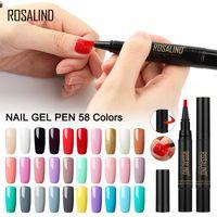 One Step Gel Nail Pen Polish 5ML 58 couleurs Soak Off Top Blanc Brosse à ongles Pen Nails Art semi permanent UV hybride