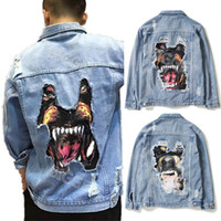 Men Jeans Jacket With Embroidery Patch American Euro Fashion...