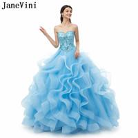 Janevini Elegante Ball Gown Lungo Quinceanera Abiti Sweetheart Principessa Pulffy Tulle Crystal Beaded Girls Pageant Abiti da ballo Vestidos 15 2019