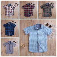 Ropa del bebé de los niños del verano Solid Plaid camisetas de manga corta de algodón de las tapas de rejilla suelta camisas ocasionales del niño Boutique caballero Traje TLYP336