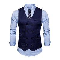 2018 Homens Primavera Homens Sólidos Terno Colete Double Breasted Business Formal Slim Fit Mens Sem Mangas Colete Colete Roupas