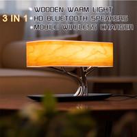 La lámpara del altavoz Bluetooth Árbol ligero lámpara de mesa Música cama altavoz WiFi llevó la luz sin hilos móvil de carga del teléfono (QI) para sala de estar
