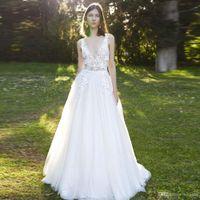 Brilliant Illusion A Line Tulle Beach Wedding Dresses Deep V Neck Backless Bohemian Bridal Dress Tiered Country Wedding Skirt CG01