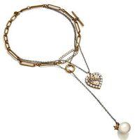 Big Promotion! Europäische und amerikanische mehrschichtige Herz Anhänger Perle Halskette Heißer Verkauf Schmuck Liebhaber Anhänger Freies Verschiffen Vintage Schmuck