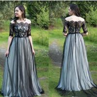 Abiti da sposa gotica in bianco e nero a-line tulle abiti da sposa gotica fuori dalla spalla mezza maniche informali semplici abiti da sposa non bianchi