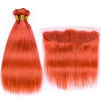 오렌지 레드 컬러 스트레이트 레미 인간의 머리카락 13x4 레이스 정면 클로저 무료 배송