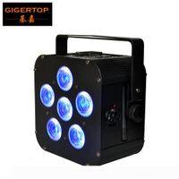 TIPTOP TP-B04 Siyah Renk Kılıf 6x18W RGBWA UV 6in1 Pil Kablosuz Led Par Işık Kare Shape Düşük Gürültü Fan 100V-220V Soğutma