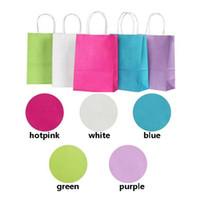 50PCS DIY multifunción bolsa de papel de colores suaves con asas 21x15x8cm bolsas de la compra bolsa de regalo Festival de alta calidad de papel kraft