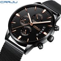 CRRJU 새로운 남성용 칼란 방수 스포츠 손목 시계 밀란 스트랩 육군 크로노 그래프 석영 무거운 시계 패션 남성 시계