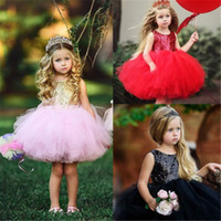 Princess Kids Baby Fancy Wedding Dress Sleeveless Sequins Pa...